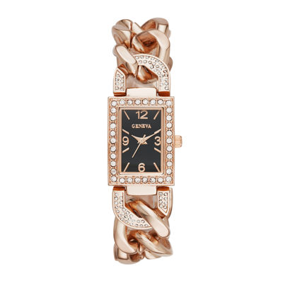 Geneva Womens Crystal-Accent Rectangular Rose-Tone Chain-Link Bracelet Watch