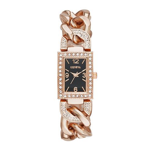 Geneva Womens Crystal-Accent Rectangular Rose-Tone Chain-Link Bracelet Watch