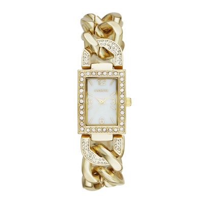 Geneva Womens Crystal-Accent Rectangular Gold-Tone Chain-Link Bracelet Watch