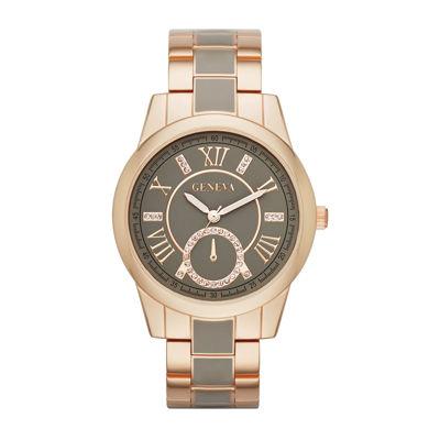 Geneva Womens Crystal-Accent Two-Tone Bracelet Watch