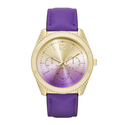 Womens Ombre Dial Leather Strap Watch