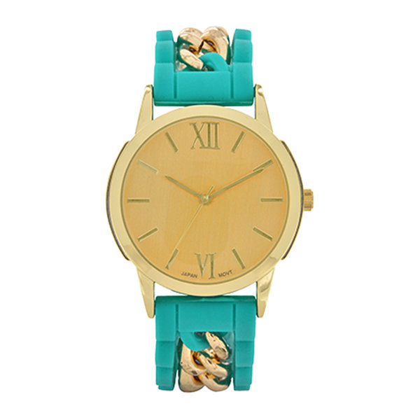 Womens Green Silicone and Gold-Tone Strap Watch