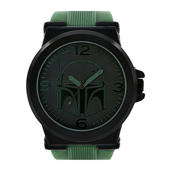 Star Wars® Boba Fett Mens Green Silicone Strap Watch