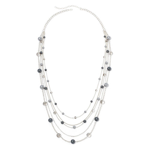 Vieste® Gray Simulated Pearl 5-Row Station Necklace