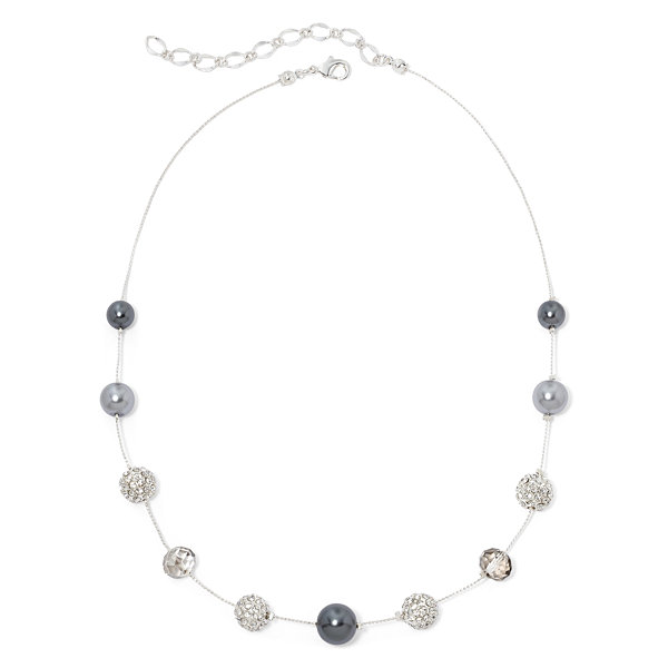 Vieste® Gray Simulated Pearl Illusion Necklace
