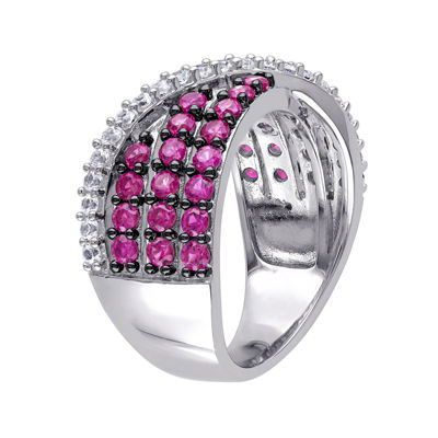 Lab-Created Ruby and White Sapphire Crossover Ring