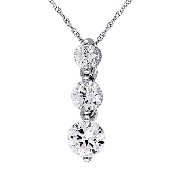 Lab-Created White Sapphire Graduated Pendant Necklace