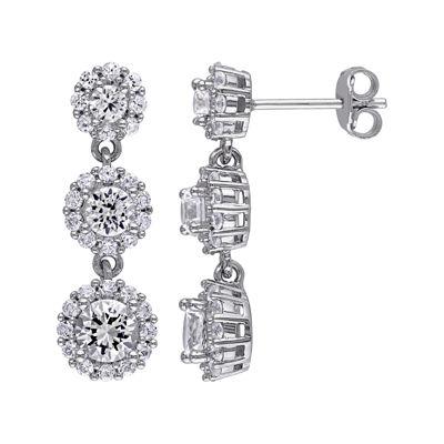 Lab-Created White Sapphire Sterling Silver Triple-Drop Earrings