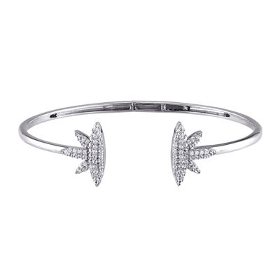 Lab-Created White Sapphire Sterling Silver Cuff Bracelet
