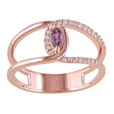 Genuine Rhodolite and White Topaz Cutout Ring