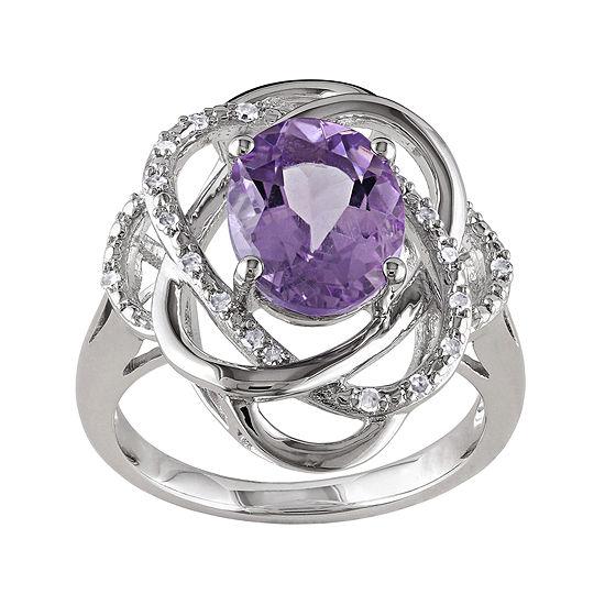Genuine Amethyst and 1/10 CT. T.W. Diamond Ring