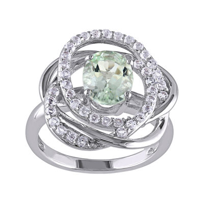 Genuine Green Amethyst and White Topaz Sterling Silver Swirl Ring
