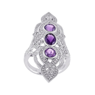 Genuine Amethyst and 1/10 CT. T.W. Diamond 3-Stone Ring
