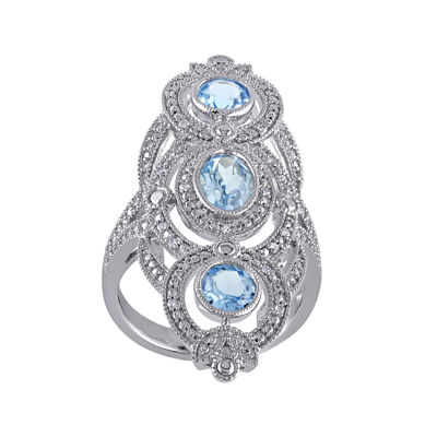 Genuine Sky Blue Topaz and 1/10 CT. T.W. Diamond 3-Stone Ring