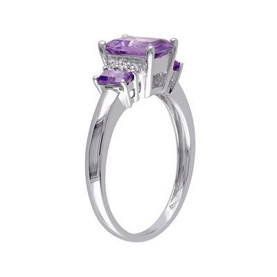 Genuine Amethyst and Diamond-Accent 3-Stone Ring