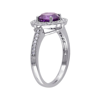 Genuine Amethyst and 1/7 CT. T.W. Diamond Ring