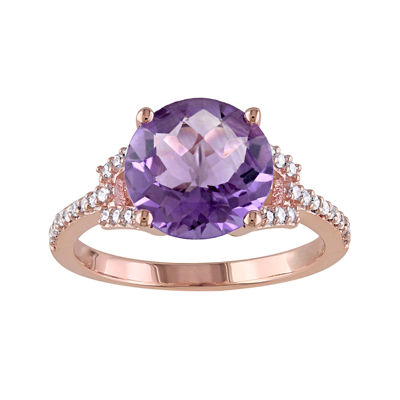 Genuine Amethyst and 1/6 CT. T.W. Diamond 10K Rose Gold Ring
