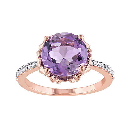 Genuine Amethyst and 1/10 CT. T.W. Diamond 10K Rose Gold Ring