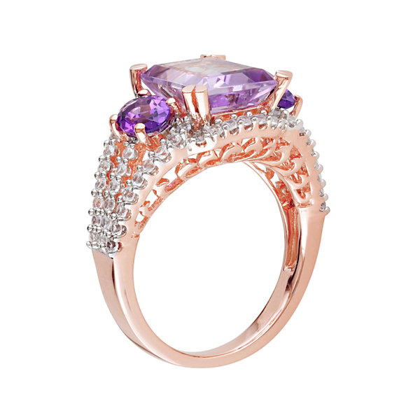 Genuine Rose de France, Amethyst and Lab-Created White Sapphire Ring