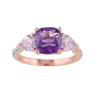 Genuine Amethyst, Rose de France and Diamond-Accent Rose Gold Over Silver Ring