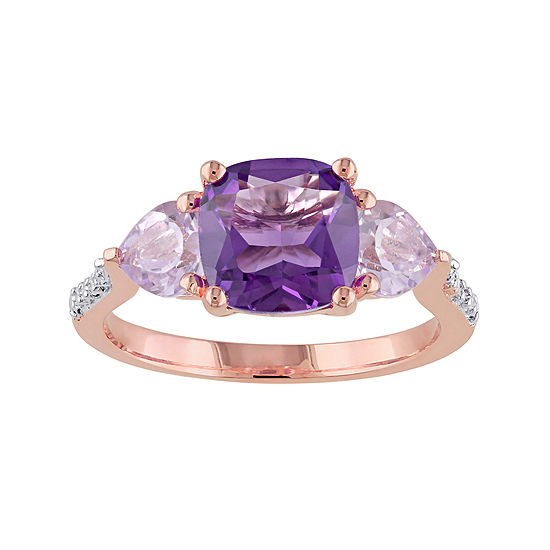 Genuine Amethyst Rose De France And Diamond Accent Rose Gold Over Silver Ring