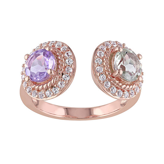 Genuine Rose de France and Green Amethyst Open Ring