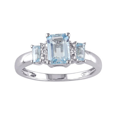 Genuine Sky Blue Topaz and Diamond-Accent 3-Stone Ring