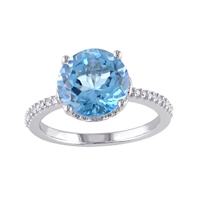 Genuine Blue Topaz and 1/10 CT. T.W. Diamond 10K White Gold Ring