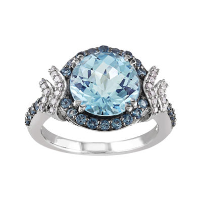 Genuine Blue Topaz and 1/8 CT. T.W. Diamond Sterling Silver Ring