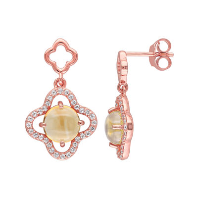 Genuine Citrine and Cubic Zirconia Earrings