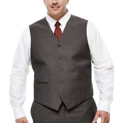 Claiborne® Charcoal Herringbone Suit Vest - Big & Tall