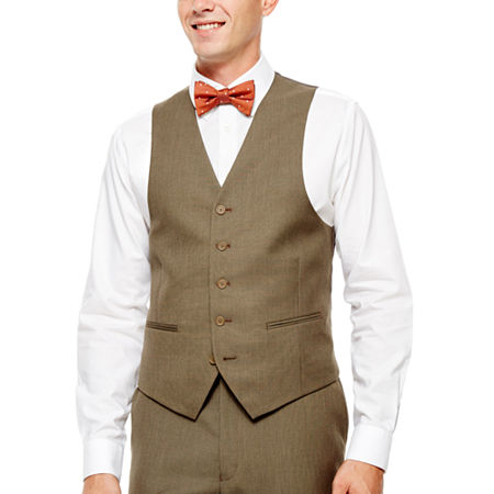 Light Brown Sharkskin Suit Vest - Classic Fit, X-small , Brown