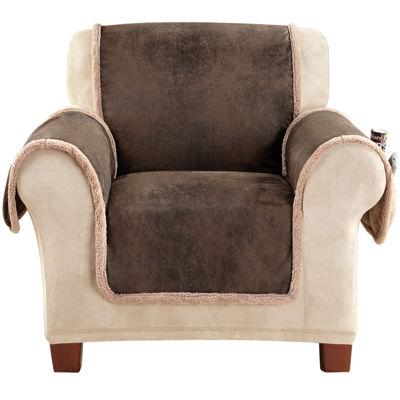 SURE FIT® Vintage Faux-Leather Reversible Pet-Friendly Chair Slipcover