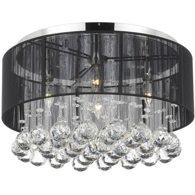 Flush-Mount Crystal Chandelier with Shade