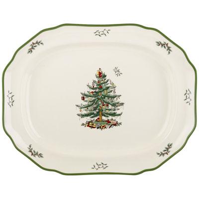 "Spode® Christmas Tree 17"" Sculpted Porcelain Oval Platter"