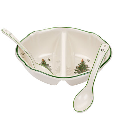 Spode® Christmas Tree 2-Section Divided Serving Dish with Spoons