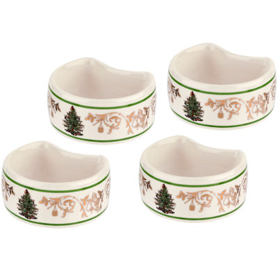 Spode® Christmas Tree Gold Collection Set of 4 Porcelain Napkin Rings