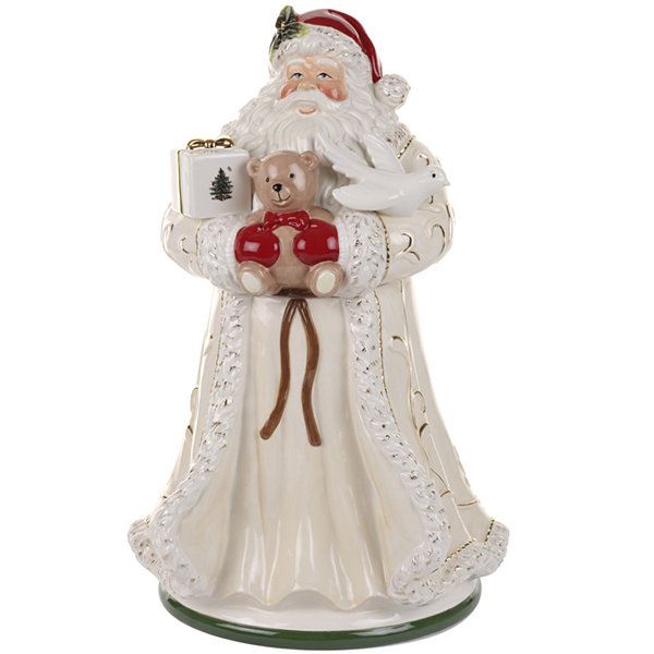 "Spode® Christmas Tree Gold Saint Nick 16.5"" Santa Cookie Jar"