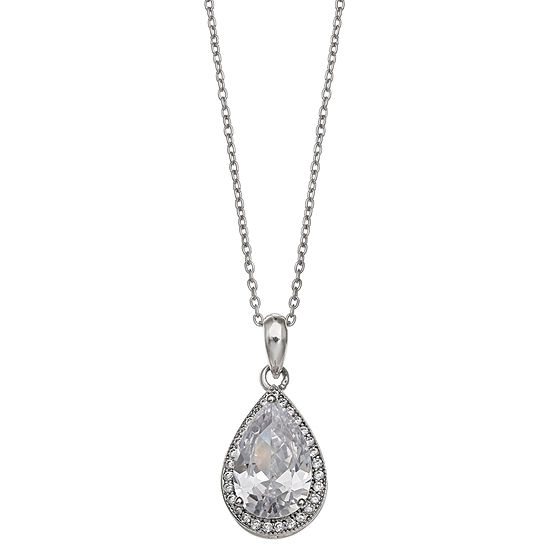 Silver Treasures Cable Pear Pendant Necklace