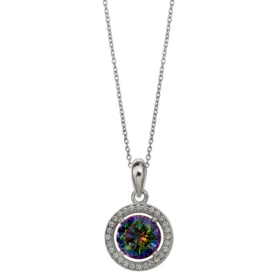 Silver Treasures Womens Round Pendant Necklace