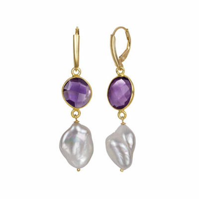 Simulated Purple Quartz 14K Gold Over Silver Drop Earrings