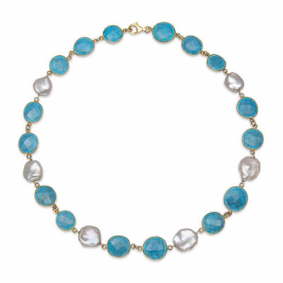 Womens Simulated Blue Quartz Gold Over Silver Strand Necklace