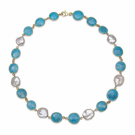 Womens Simulated Blue Quartz Gold Over Silver Strand Necklace