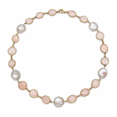 Womens Simulated Pink Quartz Gold Over Silver Strand Necklace