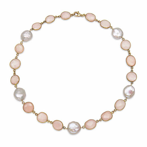 Womens Pink Quartz Gold Over Silver Strand Necklace