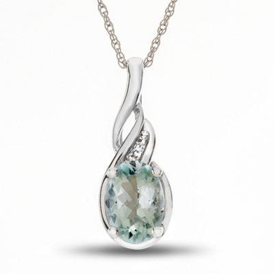Womens Diamond Accent Genuine Blue Aquamarine 10K Gold Pendant Necklace