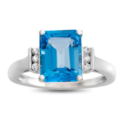 Genuine Blue Topaz & Lab Created White Sapphire