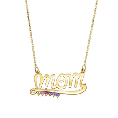 Personalized Simulated Birthstone Mom Necklace