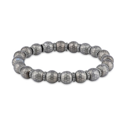 Mens Gray Hematite Stainless Steel Beaded Bracelet