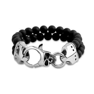 Genuine Black Onyx Stainless Steel Beaded Bracelet
